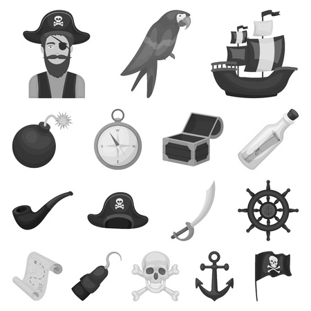 Pirate, sea robber monochrome icons in set collection for design. Treasures, attributes vector symbol stock  illustration. Vettoriali
