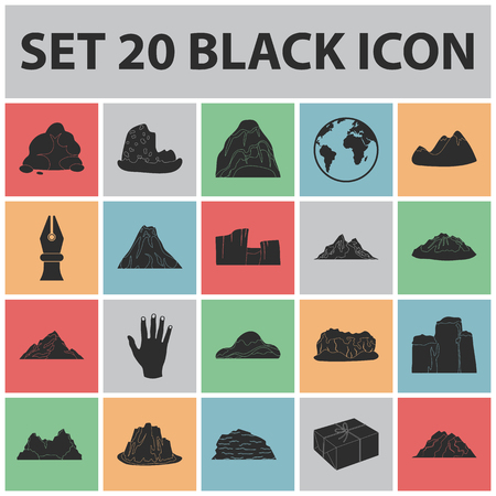 Different mountains black icons in set collection for design.Mountains and landscape vector symbol stock  illustration. Illusztráció