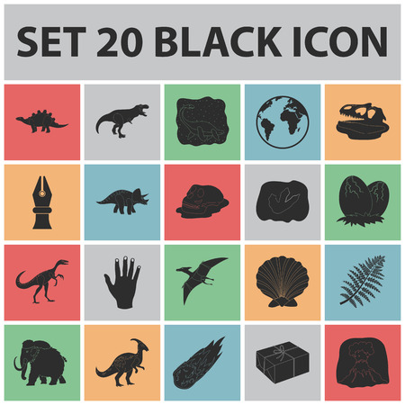 Different dinosaurs black icons in set collection for design. Prehistoric animal vector symbol stock  illustration. Illustration