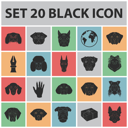 Dog breeds black icons in set collection for design. Muzzle of a dog vector symbol stock web illustration.