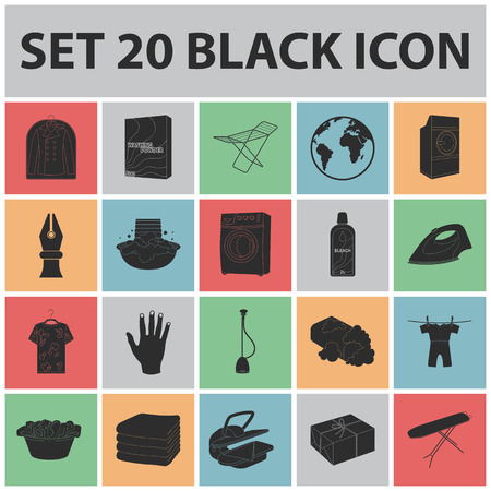 Dry cleaning equipment black icons in set collection for design. Washing and ironing clothes vector symbol stock web illustration. Vettoriali