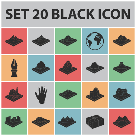 Mountains, massive black icons in set collection for design. The surface of the earth vector isometric symbol stock web illustration.