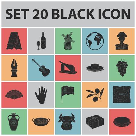 Spanje land zwarte pictogrammen in set collectie voor ontwerp. Reizen en attracties vector symbool stock illustratie.