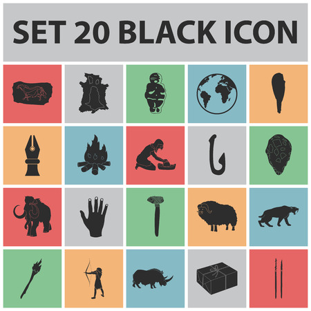 Life in the Stone Age black icons in set collection for design. Ancient people vector symbol stock  illustration. Çizim