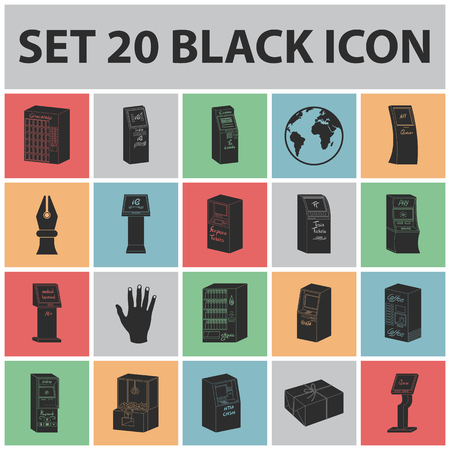 Variety of terminals black icons in set collection for design. ATM and trading device vector symbol stock  illustration. 일러스트