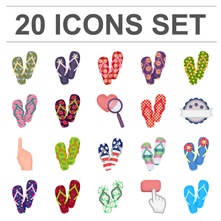 Flip-flops cartoon pictogrammen in set collectie voor design. Strand schoenen vector symbool stock web illustratie. Stockfoto - 93162591