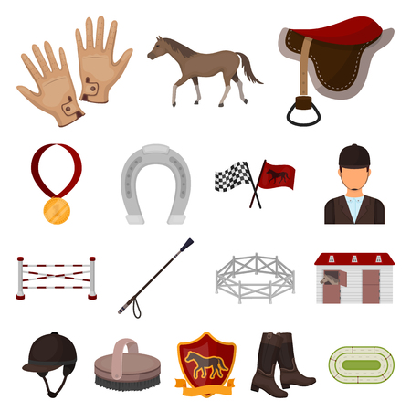 Hippodrome and horse cartoon icons in set collection for design. Horse Racing and Equipment vector symbol stock  illustration. Illustration