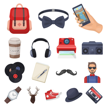 Style Hipster cartoon icons in set collection for design. Hipster Attributes and accessories, vector symbol, stock illustration. Vektoros illusztráció