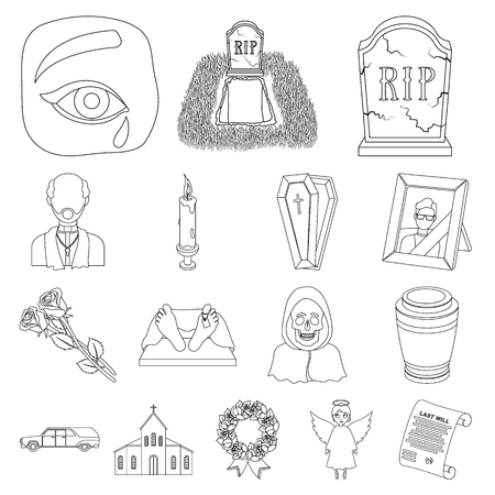 Funeral ceremony outline icons in set collection for design. Funerals and Attributes vector symbol stock  illustration.