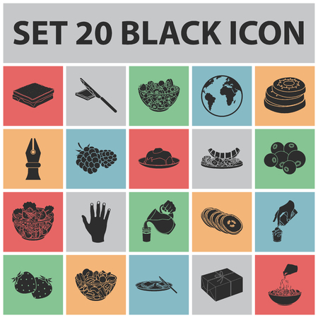 Dessert fragrant black icons in set collection for design. Food and sweetness vector symbol stock  illustration.