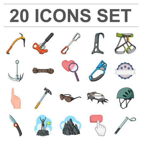 Mountaineering and climbing cartoon icons in set collection for design. Equipment and accessories vector symbol stock  illustration. Reklamní fotografie - 93216907
