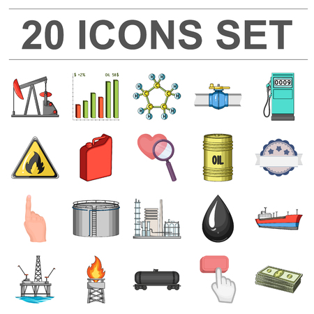 Oil industry cartoon icons in set collection for design. Equipment and oil production vector symbol stock  illustration. Иллюстрация