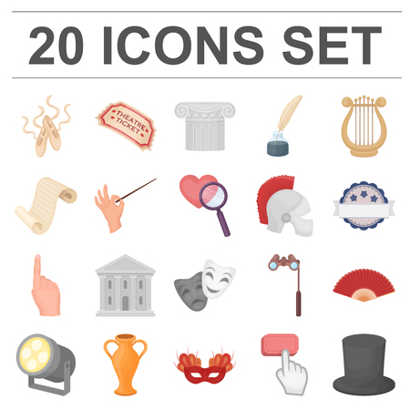 Theatrical art cartoon icons in set collection for design.Theater equipment and accessories vector symbol stock  illustration. Vettoriali