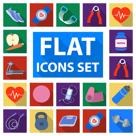 Gym and training flat icons in set collection for design.