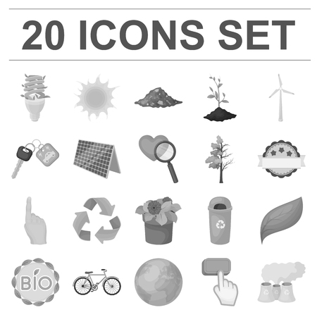 Bio and ecology monochrome icons in set collection for design. An ecologically pure product vector symbol stock  illustration.