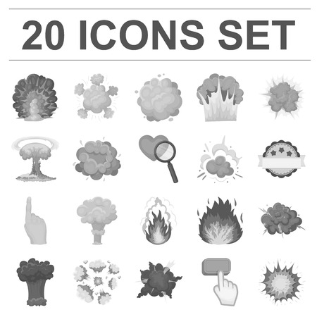 Different explosions monochrome icons in set collection for design.Flash and flame vector symbol stock  illustration. Иллюстрация