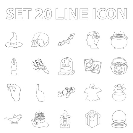 outline and white magic outline icons in set collection for design. Attributes and sorceress accessories vector symbol stock  illustration. Иллюстрация