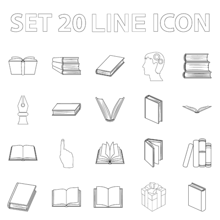 Book in the binding outline icons in set collection for design. Printed products vector symbol stock  illustration.