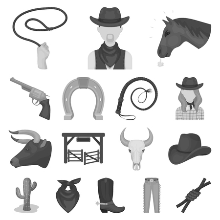Rodeo, competition monochrome icons in set collection for design. Cowboy and equipment vector symbol stock web illustration.