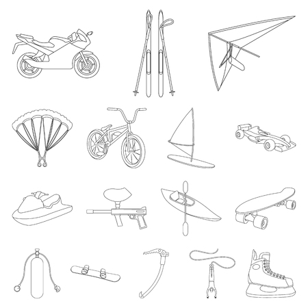 Extreme sport outline icons set vector illustration Illustration