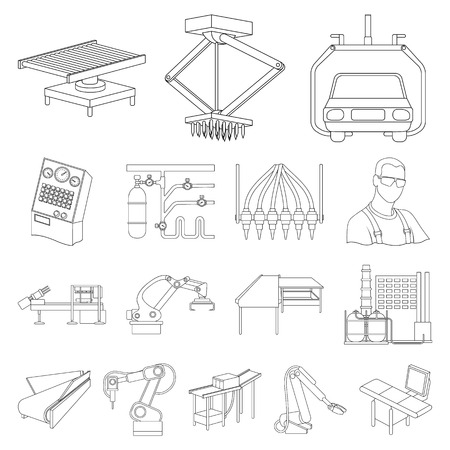 Equipment and machine outline icons in set collection for design.Technical progress of the factory vector symbol stock web illustration. Illustration