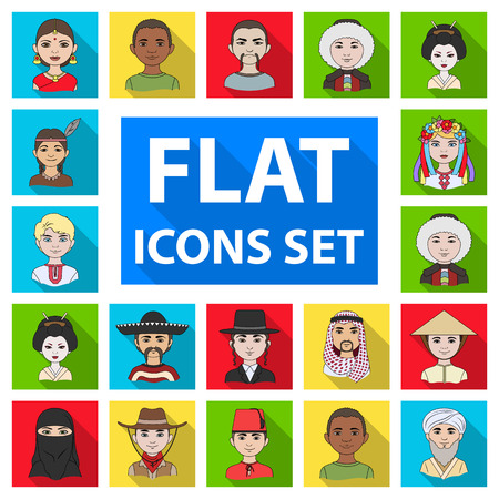 The human race flat icons in set collection for design. People and nationality vector symbol stock  illustration. Illustration
