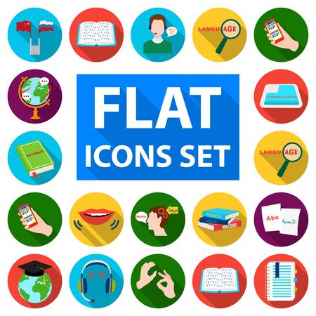 Translator and linguist flat icons in set collection for design. Interpreter vector symbol stock  illustration.