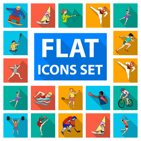 Different kinds of sports flat icons in set collection for design. Athlete, competitions vector symbol stock  illustration.