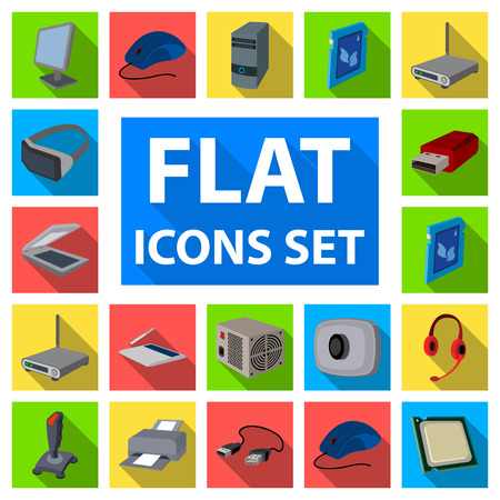 icônes plates ordinateur personnel dans la collection de jeu pour la conception. équipement et accessoires vecteur de conception. stock illustration