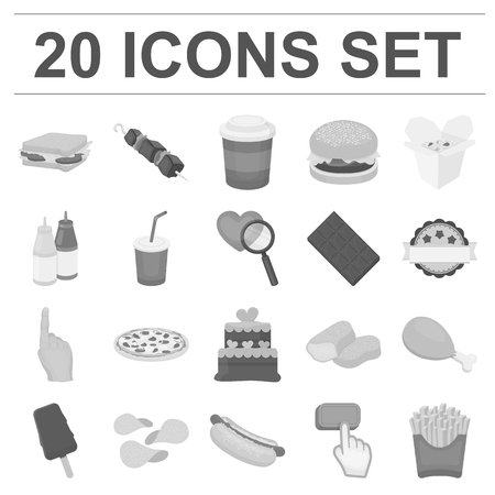 Fast food monochrome icons in set collection for design.Food from semi-finished products vector symbol stock  illustration.