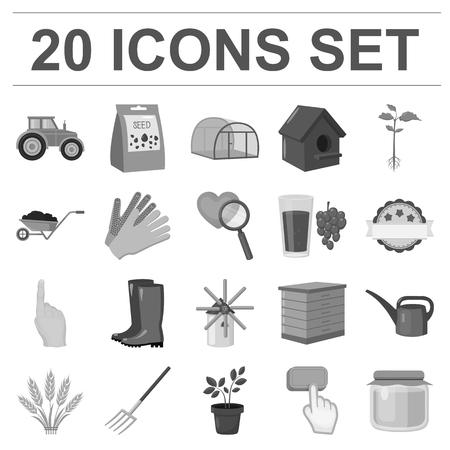 Gardening monochrome icons vector illustration set Stock Illustratie