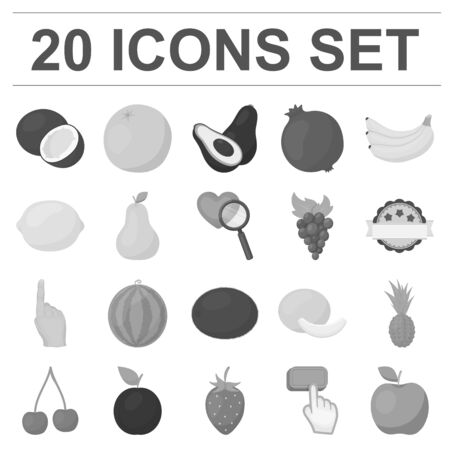 Different fruits monochrome icons in set collection for design. Fruits and vitamins vector symbol stock web illustration.