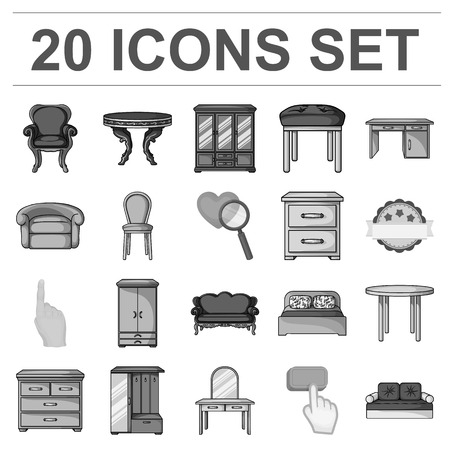 Furniture and interior icons in set collection for design. Home furniture vector symbol stock illustration.