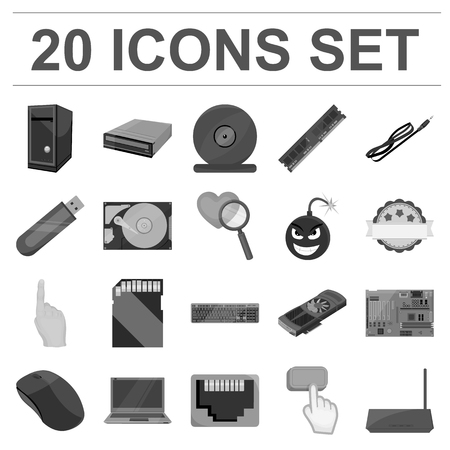 Personal computer monochrome icons in set collection for design. Equipment and accessories vector symbol stock  illustration.