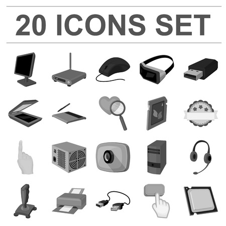 Personal computer monochrome icons in set collection for design. Equipment and accessories vector symbol stock  illustration. Фото со стока - 93386932