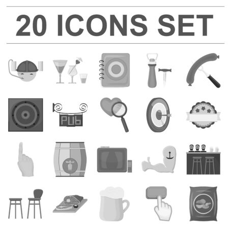Pub, interior and equipment monochrome icons in set collection for design. Alcohol and food vector symbol stock  illustration. Vettoriali