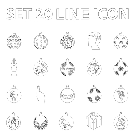 Christmas toys outline icons in set collection for design.New Year balls vector symbol stock web illustration.