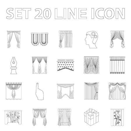 Different kinds of curtains outline icons in set collection for design. Curtains and lambrequins vector symbol stock  illustration. Çizim