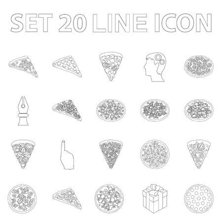 Different pizza outline icons in set collection for design.Pizza food vector symbol stock  illustration. 向量圖像