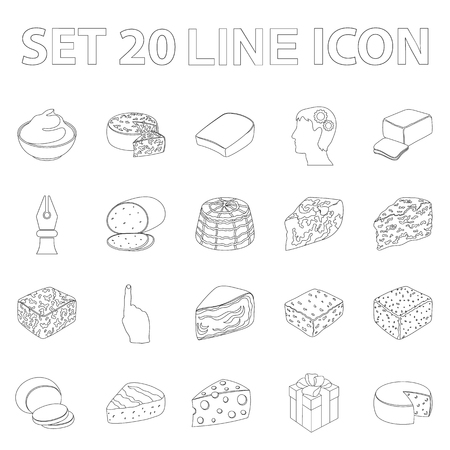 Different kind of cheese outline icons