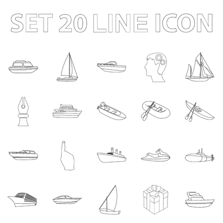Water and sea transport outline icons in set collection for design. A variety of boats and ships vector symbol stock web illustration. Ilustração