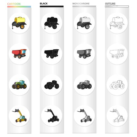 A barrel with water, a trailer, a dumper, an agricultural tractor, a forklift. Different kinds of agricultural machinery set collection icons in cartoon black outline style vector symbol stock isometric illustration web.