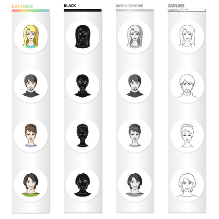 Woman, blonde, man, and other  icon in cartoon style. Beauty, cosmetology, hygiene, icons in set collection.