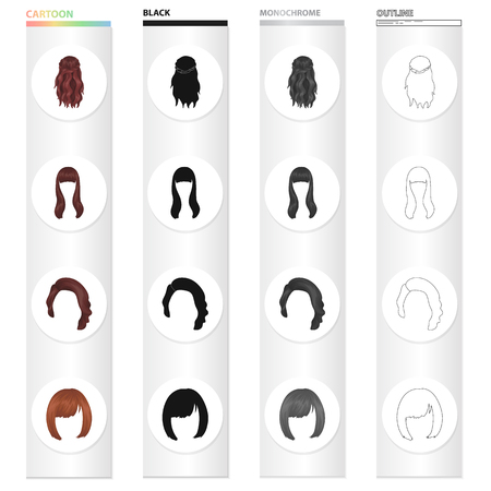 Wig, hairdresser, salon, and other  icon in cartoon style.Salon, beauty, model, icons in set collection.