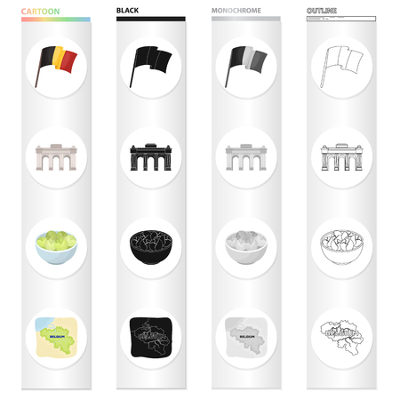 Flag, national, symbol, and other  icon in cartoon style.Belgium, arch, architecture, icons in set collection.