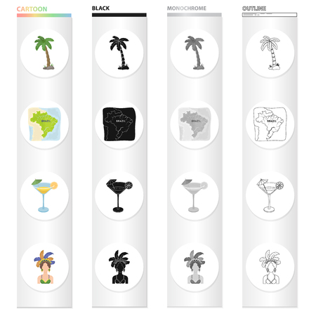 Palma, the territory of Brazil, a drink, a cocktail, a woman in a carnival costume. Brazil set collection icons in cartoon black monochrome outline style vector symbol stock illustration web.