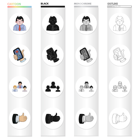 Businessman, phone in hand, conference participants, business deal. Business Conference set collection icons in cartoon black monochrome outline style vector symbol stock illustration .
