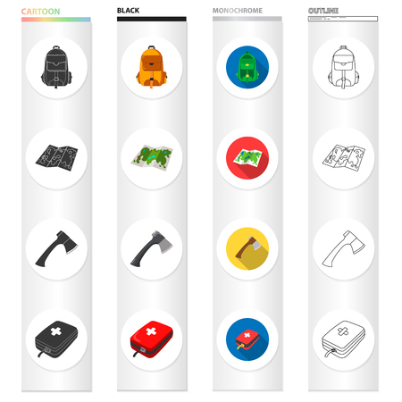 medicines, attributes, tourism and other web icon in different style. first, aid, kit, bag icons in set collection.