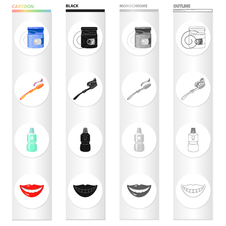 Dental floss, toothbrush for care, tooth elixir, beautiful smile. Dental care set collection icons in cartoon black monochrome outline style vector symbol stock illustration .