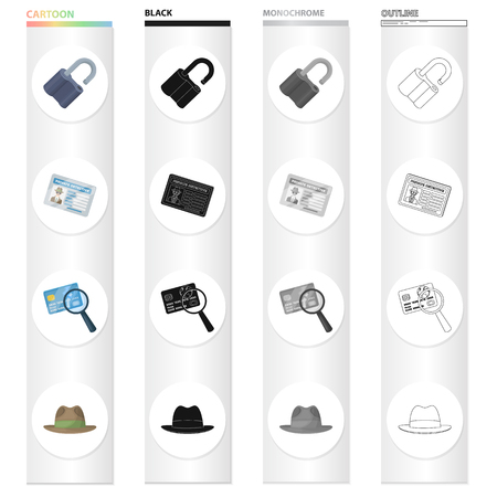 Detective and Attributes cartoon black monochrome outline icons in set collection for design. Illustration